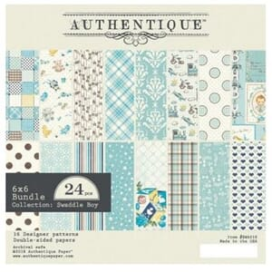 Authentique: Swaddle Boy Cardstock Pad, 6x6, 24/Pk