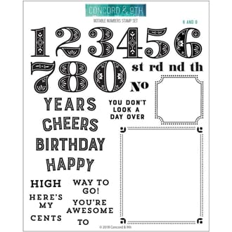 Concord & 9th: Notable Numbers Clear Stamps, 6x8 inch