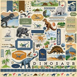 Carta Bella: Dinosaurs Cardstock Stickers, 12x12 inch