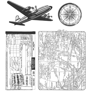 Tim Holtz: Air Travel - Cling Rubber Stamp Set