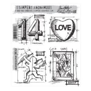 Tim Holz: Valentine Blueprint - Large Cling Rubber Stamp Set