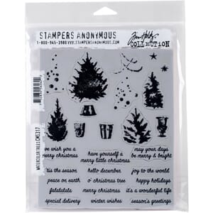 Tim Holtz: Watercolor Trees Cling Stamps, str 7x8.5 inch
