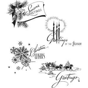 Tim Holtz: Holiday Greetings Cling Stamps, str 7x8.5 inch