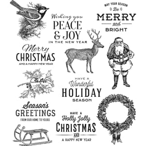 Tim Holtz: Festive Overlay Cling Stamps, str 7x8.5 inch