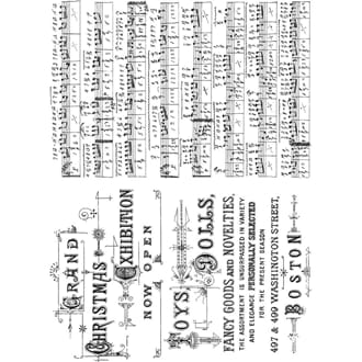 Tim Holtz: Music & Advert Cling Stamps, str 7x8.5 inch