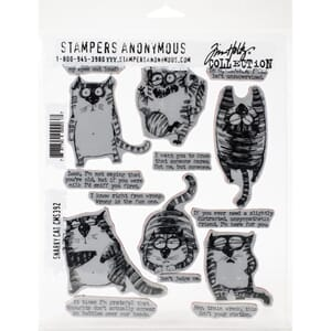 Tim Holtz: Snarky Cat Cling Stamps, str 7x8.5 inch