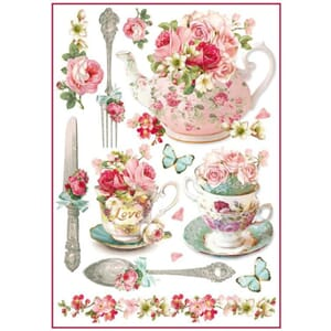 Stamperia: Floral mugs and teapots Rice paper, A4
