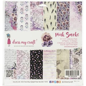 Dress My Crafts: Pink Smoke Paper Pad, 12x12, 24/Pkg