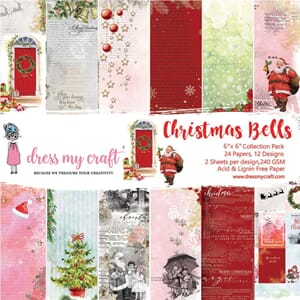 Dress My Crafts: Christmas Bells Paper Pad, 6x6, 24/Pkg