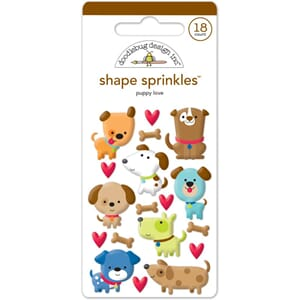 Doodlebug: Puppy Love Shapes Enamel Embellishments