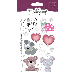 Elizabeth Craft: Color Of Puppies-Girl Clear Stamps