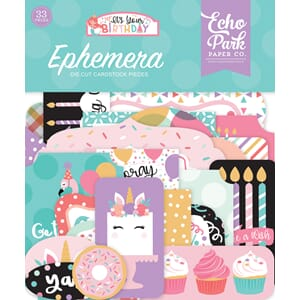 Echo Park: It's your Birthday Girl Ephemera, 33/Pkg