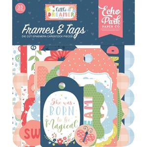 Echo Park: Tags & Frames, Little Dreamer Girl Ephemera 33/Pk