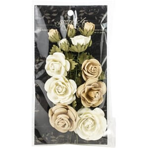 Graphic 45: Classic Ivory & Natural Linen Flowers, 15/Pkg