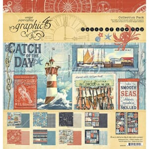 Graphic 45: Catch Of The Day Paper Pad, 12x12, 16/Pkg
