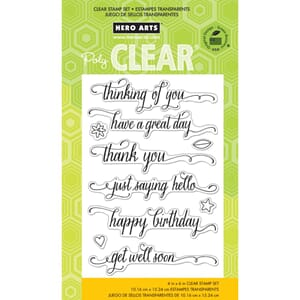 Hero Arts: Messages W/Flourish Clear Stamps, 4x6 inch