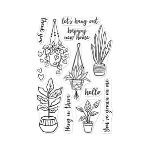 Hero Arts: Hang In There Potted Plants Clear Stamps