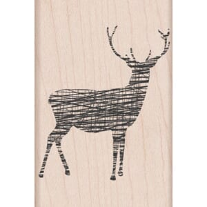 Hero Arts: Cross-Hatch Reindeer - Mounted Rubber Stamps
