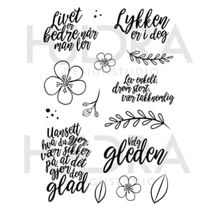 Huldra - Brushtekst Clear stamps, str 4x6 inch