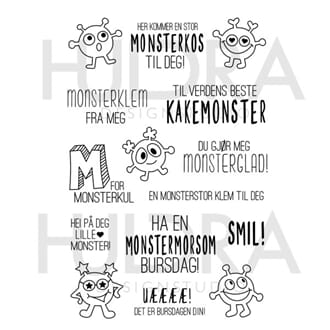 Huldra - Monster Clear stamps, str 4x6 inch