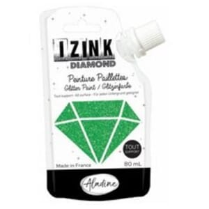 Izink: Green Diamond Glitter Paint, 80 ml