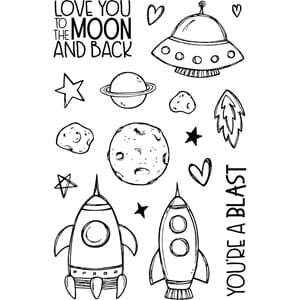 Jane's Doodles: To The Moon Clear Stamps, 4x6 inch