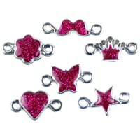 Loom Band Charms - Bright Pink Glitter Assorted