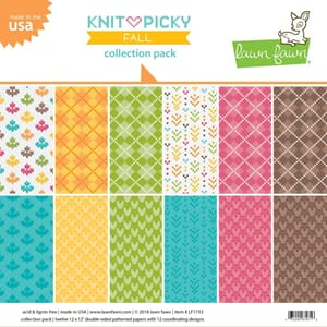 Lawn Fawn: Knit Picky Fall Paper Pack, 12x12, 12/Pkg