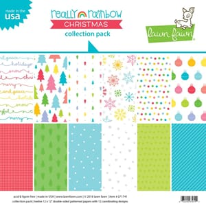 Lawn Fawn: Really Rainbow Christmas Paper Pack, 12x12, 12/P