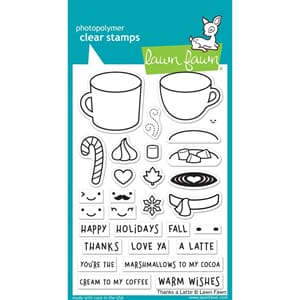 Lawn Fawn: Thanks A Latte Clear Stamps, 4x6 inch