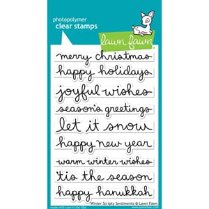 Lawn Fawn: Winter Scripty Sentiments Clear Stamps, 4x6 inch