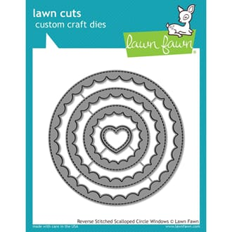 Lawn Fawn: Reverse Stitched Scalloped Circle Window Craft Di