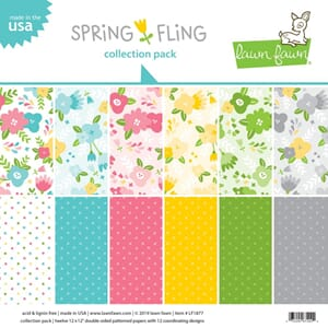 Lawn Fawn: Spring Fling Double-Sided Collection Pack, 12/Pkg