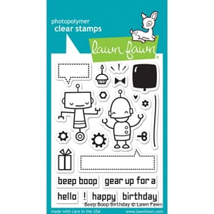 Lawn Fawn: Beep Boop Birthday Clear Stamps, 3x4 inch