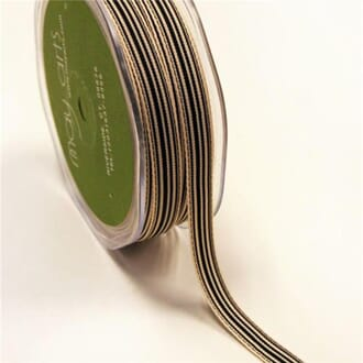 May Arts: Black/Ivory - Striped Grosgrain Ribbon