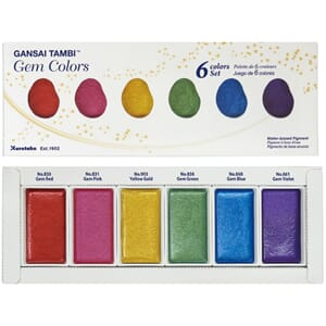 Kuretake Gansai Tambi 6 Color Set, Gem Colors