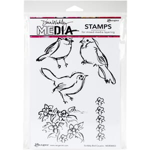 Dina Wakley: Scribbly Bird Cousins Media Cling Stamps, 6x9