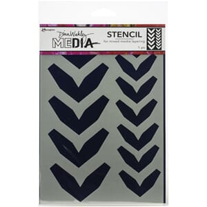 Dina Wakley Media: Large Fractured Chevrons Stencils,  9x6