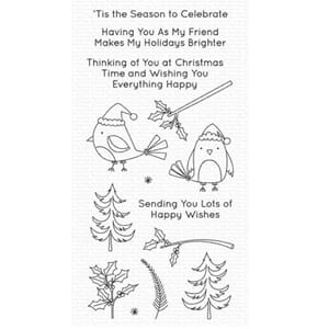 My Favorite Things Christmas Cardinals Clear Stamps, 4x8 in
