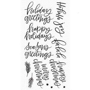 MFT: Hand-Lettered Holiday Greetings Clear Stamps, 4x8 inch
