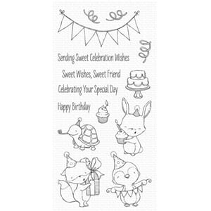 MFT: Sending Sweet Celebration Wishes Clear Stamps, 4x8 inch