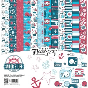 Elizabeth Craft: Sailor's Life Paper Pack, 12x12, 12/Pkg