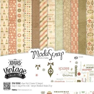 Elizabeth Craft: Xmas Vintage Collection Pack, 6x6, 12/Pkg