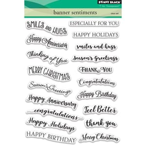 Penny Black: Banner Sentiments Clear Stamps