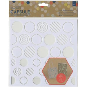 Papermania: Circles Geometric Kraft Adhesive Stencil, 8x8 in