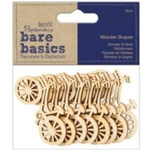 Docraft Bare Basics - Bike Wooden Shapes, 8/Pkg