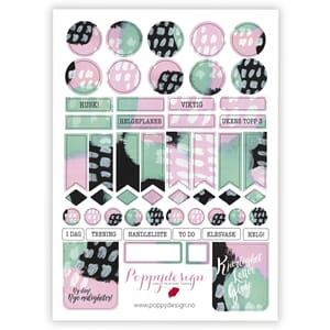 Poppydesign - Basic Art Mint & Rosa Stickers