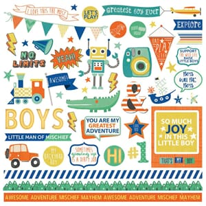 Photo Play: Boys Rule Elements - Stickers, 12x12 inch