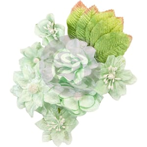 Prima: Frosted Mint Santa Baby Fabric Flowers 12/Pkg