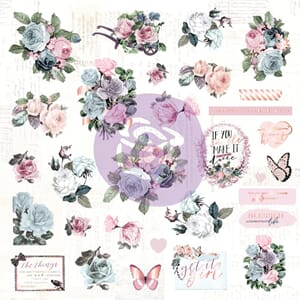 Prima: Poetic Rose Ephemera Cardstock & Acetate Die-Cuts 49/